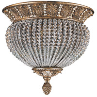 Crystorama Roosevelt 2 Light Semi-Flush Mount in Weathered Patina with Crystal Beads 6723-WP