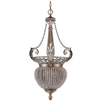 Crystorama Roosevelt 3 Light Pendant in Weathered Patina with Crystal Beads 6724-WP