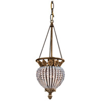 Crystorama Roosevelt 1 Light Pendant in Weathered Patina with Crystal Beads 6725-WP