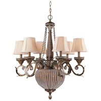 Crystorama Roosevelt 8 Light Chandelier in Weathered Patina with Crystal Beads 6726-WP