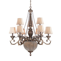 Crystorama Roosevelt 11 Light Chandelier in Weathered Patina with Crystal Beads 6729-WP