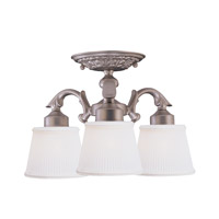 Crystorama Cast 3 Light Semi-Flush Mount in Satin Nickel 673-SN