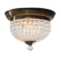 Newbury 2 Light 10 inch Antique Brass Flush Mount Ceiling Light in Antique Brass (AB)