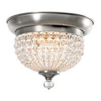 Crystorama Newbury 2 Light Flush Mount in Antique Pewter with Hand Cut Crystals 6742-AP