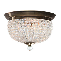 Crystorama Newbury 3 Light Flush Mount in Antique Brass with Hand Cut Crystals 6743-AB
