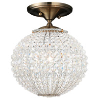 Crystorama Newbury 1 Light Semi-Flush Mount in Antique Brass with Hand Cut Crystals 6750-AB