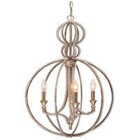 Crystorama Garland 3 Light Chandelier in Distressed Twilight with Hand Cut Crystals 6765-DT