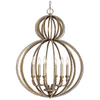 Crystorama Garland 6 Light Chandelier in Distressed Twilight 6766-DT