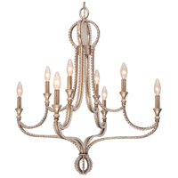 Crystorama Garland 8 Light Chandelier in Distressed Twilight with Hand Cut Crystals 6768-DT