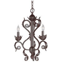 Crystorama Winslow 3 Light Mini Chandelier in Dark Rust 6803-DR