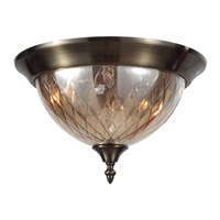 Crystorama Avery 3 Light Flush Mount in Antique Brass 69-AB-CG