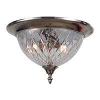 Signature 3 Light 13 inch Polished Chrome Flush Mount Ceiling Light in Clear Crystal (CL), Polished Chrome (CH)