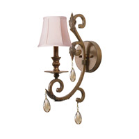 Crystorama Royal 1 Light Wall Sconce in Florentine Bronze with Hand Cut Crystals 6901-FB-GT-MWP