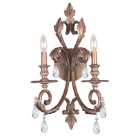 Crystorama Royal 2 Light Wall Sconce in Florentine Bronze, Clear Crystal, Hand Cut 6902-FB-CL-MWP