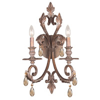 Crystorama Royal 2 Light Wall Sconce in Florentine Bronze, Golden Teak, Hand Cut 6902-FB-GT-MWP