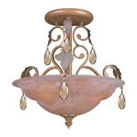 Crystorama Lighting Royal 3 Light Semi-Flush Mount in Florentine Bronze & Hand Cut Golden Teak Crystal 6903-FB-GT-MWP photo thumbnail