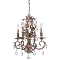 Crystorama Royal 4 Light Mini Chandelier in Florentine Bronze 6904-FB-CL-MWP