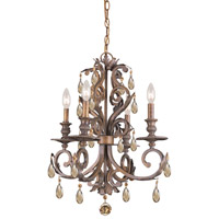 Crystorama Royal 4 Light Mini Chandelier in Florentine Bronze 6904-FB-GT-MWP