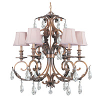 Crystorama Royal 6 Light Chandelier in Florentine Bronze with Hand Cut Crystals 6906-FB-CL-MWP