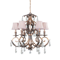 Crystorama Royal 6 Light Chandelier in Florentine Bronze 6906-FB-CL-SAQ