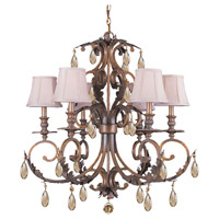 Crystorama Royal 6 Light Chandelier in Florentine Bronze 6906-FB-GT-MWP