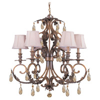Crystorama Royal 6 Light Chandelier in Florentine Bronze with Swarovski Elements Crystals 6906-FB-GTS
