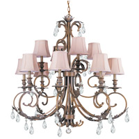 Crystorama Royal 12 Light Chandelier in Florentine Bronze with Hand Cut Crystals 6909-FB-CL-MWP
