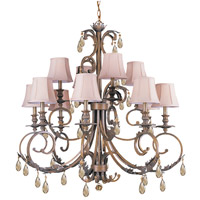 Crystorama Royal 12 Light Chandelier in Florentine Bronze with Swarovski Elements Crystals 6909-FB-GTS