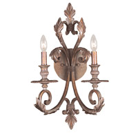 Crystorama Royal 2 Light Wall Sconce in Florentine Bronze 6912-FB