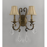 Crystorama Wellington 2 Light Wall Sconce in Antique Brass 6932-AB