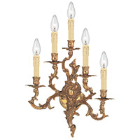 Crystorama Oxford 5 Light Wall Sconce in Olde Brass 705-OB