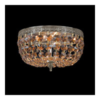Crystorama Signature 2 Light Flush Mount in Aged Brass, Golden Teak, Hand Cut 710-AG-GT-MWP