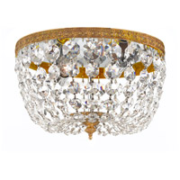 Signature 2 Light 10 inch Olde Brass Flush Mount Ceiling Light in Olde Brass (OB), Clear Italian