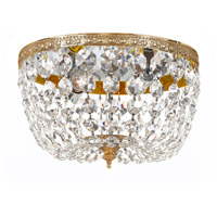 Signature 2 Light 10 inch Olde Brass Flush Mount Ceiling Light in Hand Cut, Olde Brass (OB), Clear Crystal (CL)