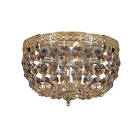 Signature 2 Light 10 inch Olde Brass Flush Mount Ceiling Light in Golden Teak (GT), Swarovski Elements (S), Olde Brass (OB)