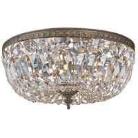 Signature 3 Light 12 inch English Bronze Flush Mount Ceiling Light in Hand Cut, English Bronze (EB), Clear Crystal (CL)