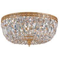 Signature 3 Light 12 inch Olde Brass Flush Mount Ceiling Light in Olde Brass (OB), Italian Crystals (I), Clear Crystal (CL)