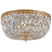 Signature 3 Light 12 inch Olde Brass Flush Mount Ceiling Light in Olde Brass (OB), Clear Hand Cut