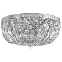 Signature 3 Light 14 inch Polished Chrome Flush Mount Ceiling Light in Hand Cut, Polished Chrome (CH), Clear Crystal (CL)