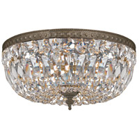 Signature 3 Light 14 inch English Bronze Flush Mount Ceiling Light in English Bronze (EB), Clear Swarovski Strass