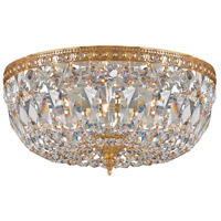 Crystorama 714-OB-CL-MWP Signature 3 Light 14 inch Olde Brass Flush Mount Ceiling Light in Olde Brass (OB), Clear Hand Cut
