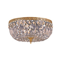 Crystorama 714-OB-GTS Signature 3 Light 14 inch Olde Brass Semi Flush Mount Ceiling Light in Olde Brass (OB), Golden Teak Swarovski