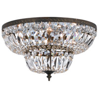 Crystorama 718-EB-CL-SAQ Signature 4 Light 18 inch English Bronze Flush Mount Ceiling Light in Swarovski Spectra (SAQ), English Bronze (EB)
