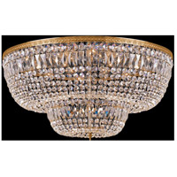 Signature 24 Light 48 inch Olde Brass Flush Mount Ceiling Light in Hand Cut