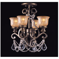 Norwalk 4 Light 17 inch Bronze Umber Flush Mount Ceiling Light in Hand Cut, Clear Crystal (CL)