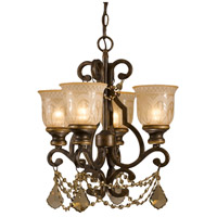 Norwalk 4 Light 17 inch Bronze Umber Mini Chandelier Ceiling Light in Golden Teak Hand Cut