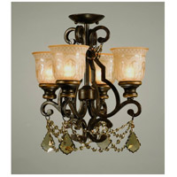 Norwalk 4 Light 17 inch Bronze Umber Flush Mount Ceiling Light in Golden Teak (GT), Hand Cut