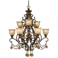 Norwalk 9 Light 34 inch Bronze Umber Chandelier Ceiling Light in Golden Teak Hand Cut