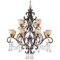 Crystorama Norwalk 12 Light Chandelier in Bronze Umber, Clear Crystal, Amber Etched 7512-BU-CL-I