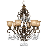 Norwalk 6 Light 28 inch Bronze Umber Chandelier Ceiling Light in Clear Hand Cut